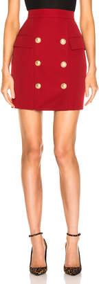 Balmain Button Front Mini Skirt in Dark Red | FWRD