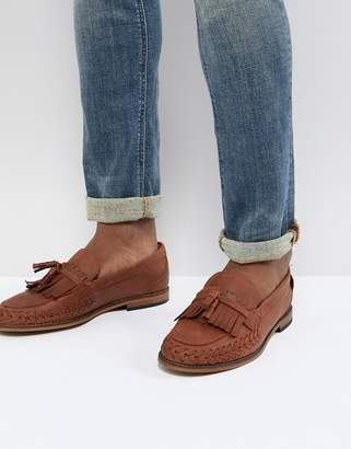 H By Hudson Alloa woven loafers in tan leather