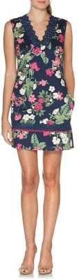 Laundry by Shelli Segal Lace-Trimmed Printed Pique Sheath Dress