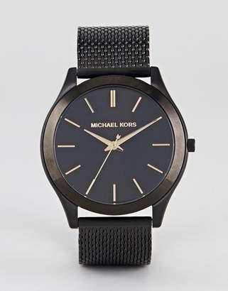 Michael Kors MK8607 Slim Runway Mesh Watch In Black 44mm