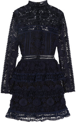 Self-Portrait - Ava Guipure Lace Mini Dress - Midnight blue $365 thestylecure.com