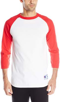 Champion Men's Raglan Baseball T-Shirt, White/Scarlet
