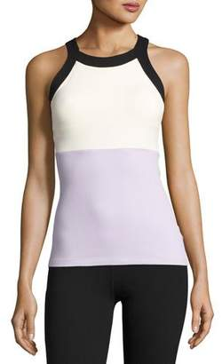 Beyond Yoga x kate spade new york blocked band racer tank, lilac charm $110 thestylecure.com