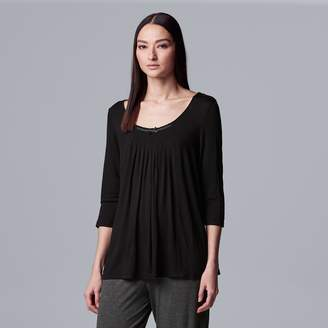 Vera Wang Women's Simply Vera Pajamas: Basic Luxury Pleated Pajama Top