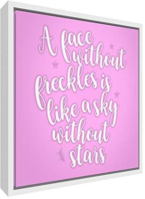 Camilla And Marc Feel Good Art A Face Freckles Is Like a Sky without Stars Contemporary White Wooden Framed Canvas, Wood, Soft Pink, 42 x 42 x 3 cm