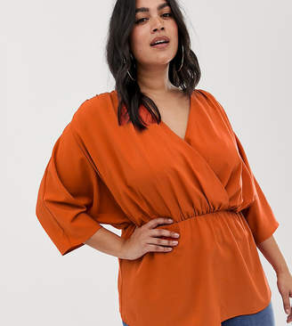 Asos DESIGN Curve wrap top with ruched sleeves