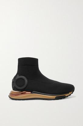 Salvatore Ferragamo Gardena Stretch-knit Sneakers - Black