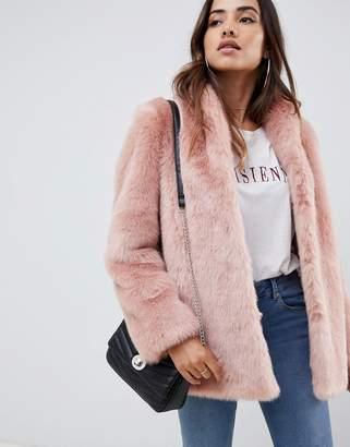 Asos Design DESIGN stand collar faux fur coat