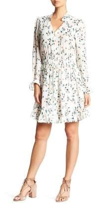 Moonbassa Sheer Sleeve Floral Dress