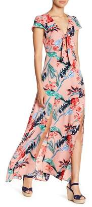 Love + Harmony Short Sleeve Floral Print Front Tie Maxi Dress
