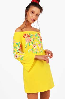 boohoo Off Shoulder Printed Embroidery Shift Dress