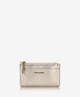 GiGi New York Mini Zip Card Case, White Gold Metallic Goatskin