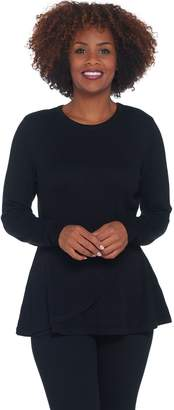 Isaac Mizrahi Live! Long Sleeve Peplum Flounce Sweater