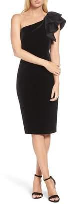 Eliza J One-Shoulder Velvet Sheath Dress