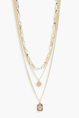 boohoo Chain & Gem Layered Necklace