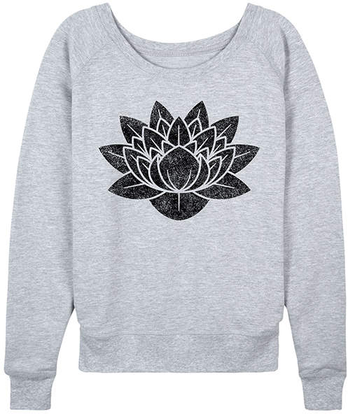 Athletic Heather Lotus Flower Slouchy Pullover - Women