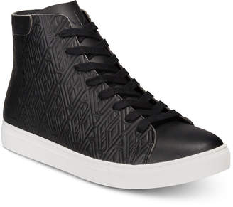 Armani Exchange Men's Leather-Effect Printed High-Top Sneakers Men's Shoes