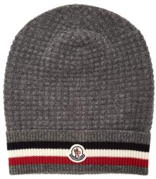 Moncler Striped Wool And Cashmere Blend Beanie - Mens - Grey Multi