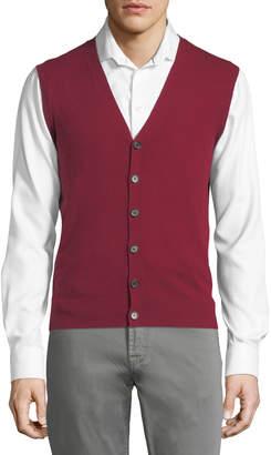 Neiman Marcus Cashmere V-Neck Cardigan Vest