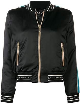 Elisabetta Franchi sequin embroidered back bomber jacket