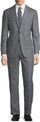 Hickey Freeman Men's Herringbone-Check Two-Piece Suit, Grey