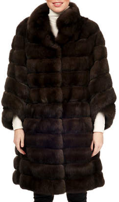 Maurizio Braschi Russian Sable Fur Horizontal Stroller Coat w/ Leather Belt