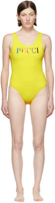 Emilio Pucci Yellow Logo One-Piece Swimsuit