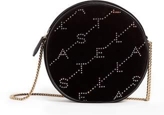 Stella McCartney Mini Round Monogram Velvet Cross Body Bag