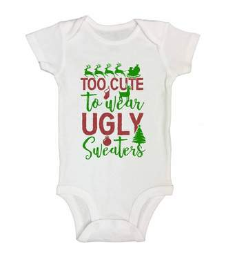 """Little Royaltee Shirts Cute Christmas Onesies """"Too Cute To Wear Ugly Sweaters"""" Royaltee Holiday Shirts 0-3 Months"""