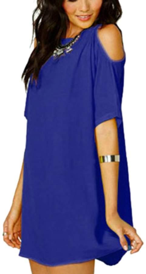 YACUN Women's Loose Chiffon Cold Shoulder Shirt Dress M
