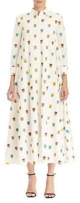 Carolina Herrera Long Floral Shirtdress w/ Waist Tie