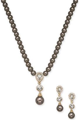 "Charter Club Gold-Tone Crystal & Imitation Pearl Lariat Necklace & Drop Earrings Set, 17"" + 2"" extender"