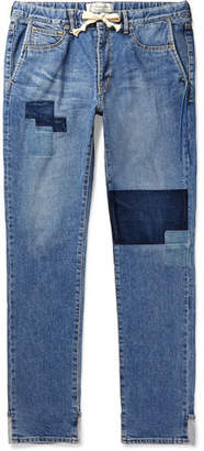 Remi Relief Slim-Fit Patchwork Denim Drawstring Jeans