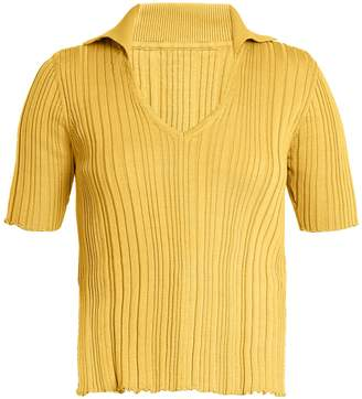 Jacquemus V-neck ribbed-knit cotton top