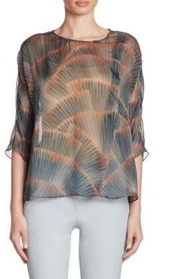 Armani Collezioni Silk Feather-Print Blouse