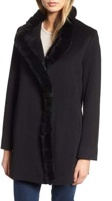 Fleurette Loro Piana Wool Car Coat with Genuine Rex Rabbit Fur Trim