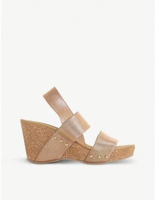 Dune Kassii - cork wedge studded mule sandal