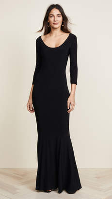 Norma Kamali Reversible Scoop Neck Fishtail Gown