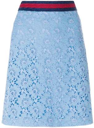 Gucci flower lace Web skirt