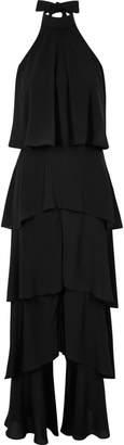 River Island Womens Black wide leg halter frill jumpsuit