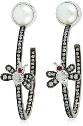 Artisan 18K Gold Butterfly Earring With Ruby Pearl & Pave Diamonds