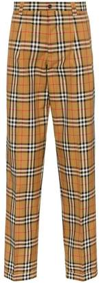 Burberry classic check print tailored cotton trousers