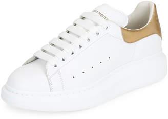 Alexander McQueen Men's Leather Low-Top Sneakers w/Golden Heel, White