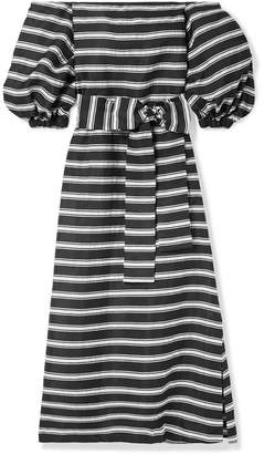 Lisa Marie Fernandez Rosie Off-the-shoulder Striped Satin-twill Maxi Dress - Black