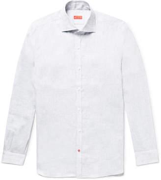 Isaia Slim-Fit Satin-Trimmed Slub Linen Shirt - Men - Gray
