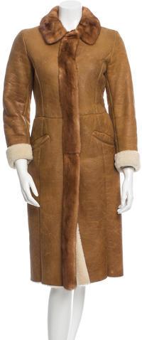 pradaPrada Mink-Trimmed Shearling Coat