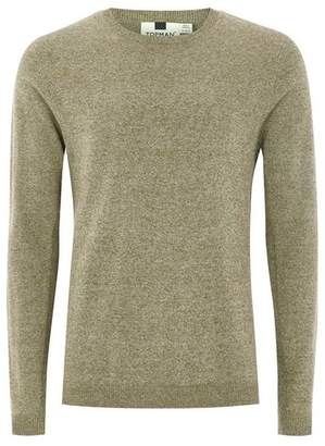 Topman Mens Khaki And White Twist Sweater