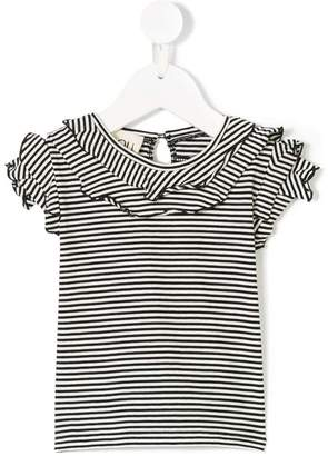 Douuod Kids ruffle sleeve striped T-shirt