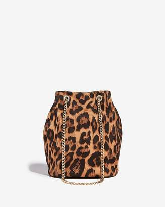 Express Leopard Chain Handle Bucket Bag