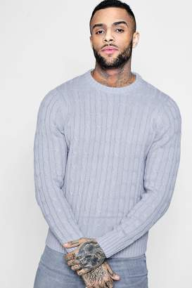 boohoo Cable Knit Crew Neck Jumper
